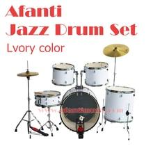 5 Drums 2 Crash Cymbals Lvory color Afanti Music Jazz Drum Set Drum kit AJDS 421