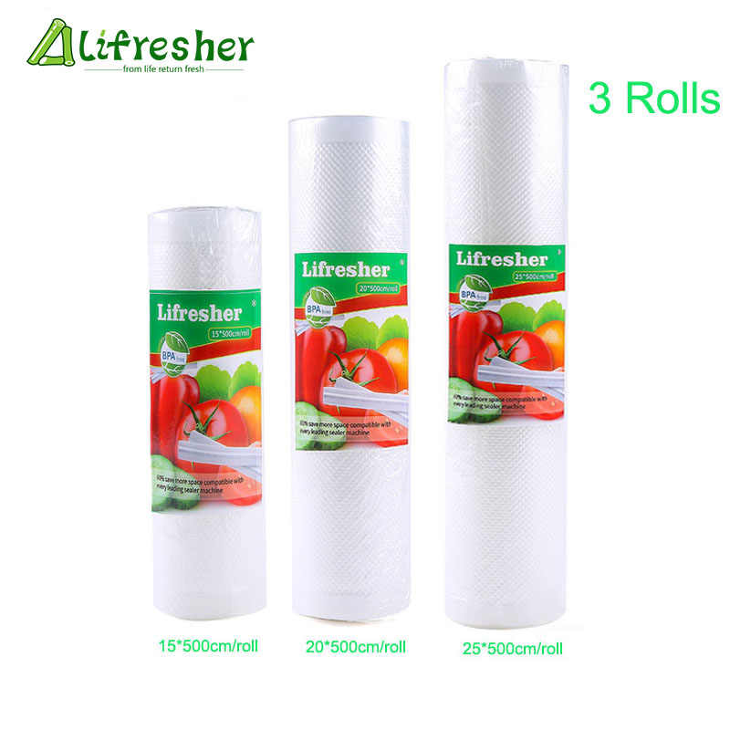 Lifresher Food Storage Saver Bags 3 Rolls/Lot Vacuum Bags For Kitchen Vacuum Sealer To Keep Food Fresh Dropshipping