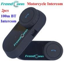 2 unids FDC Motocicleta Intercomunicador Del Casco Del Bluetooth Estéreo Auriculares Manos Libres Impermeable 100 m BT Cascos Auriculares de Intercomunicación Inalámbrica