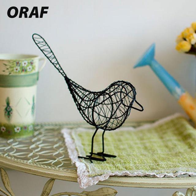 Alambre de hierro pájaro artesanía hierro contemporáneo Blanco/Negro/azul regalo hogar Decoración ornamentos Artificial Oficina escritorio ornamento
