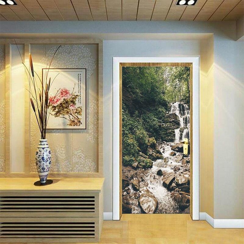 Creative 3D Waterfalls Nature Wall Stickers DIY Mural Bedroom Poster PVC Waterproof Door Sticker Living Room Bedroom Home Decor
