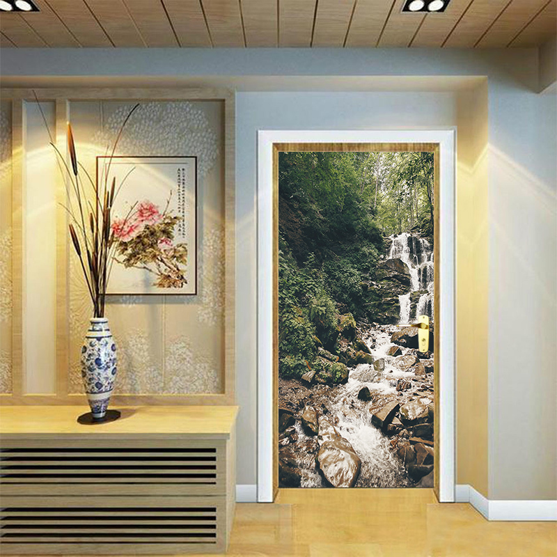 Creativo 3D cascadas naturaleza pared pegatinas DIY Mural dormitorio puerta del PVC etiqueta salón dormitorio decoración del hogar