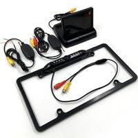 3 in 1 2.4G Kablosuz Plaka Çerçeve Araba Dikiz Park Reversing Kamera + 4.3 inç için Katlanabilir LCD Monitör yardımı