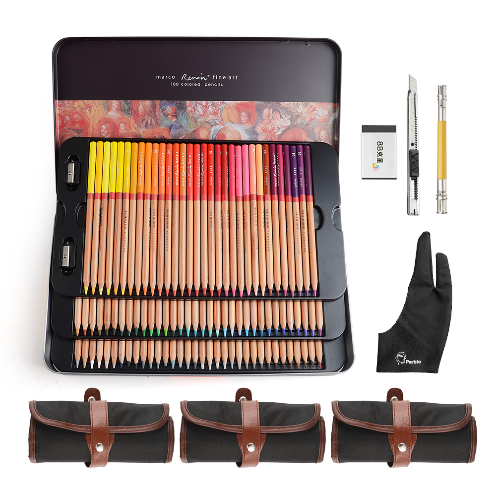 Marco Renoir Fine Art crayons de couleur professionnels 100 ensemble de couleurs + 3 sac à roulettes + gant Anti-salissure à deux doigts
