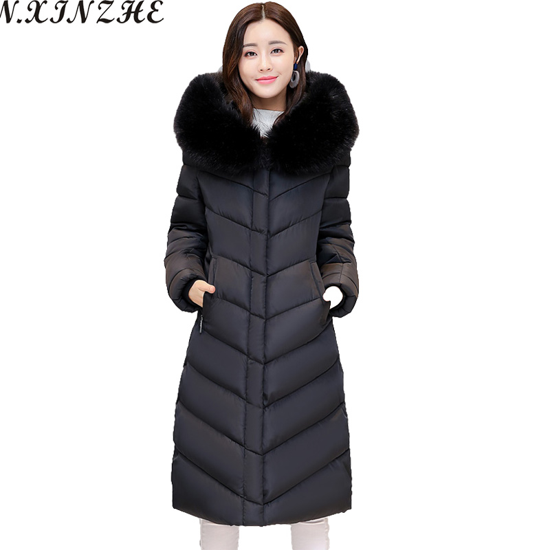 N.XINZHE 2017 Winter Parkas Women Long Jacket Big Fur Collar Coats woman Thick Warm Cotton Hooded Parkas Outwear Plus Size 4XL 2017 new fashion women long cotton coats size s 2xl hooded collar warm parkas winter black navy green color woman parkas qh0449