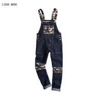 Korean Style Hiphop Camouflage Black Denim Slim Jumpsuit Male Suspender Bib Long Pants Fashion Casual Jeans Overalls
