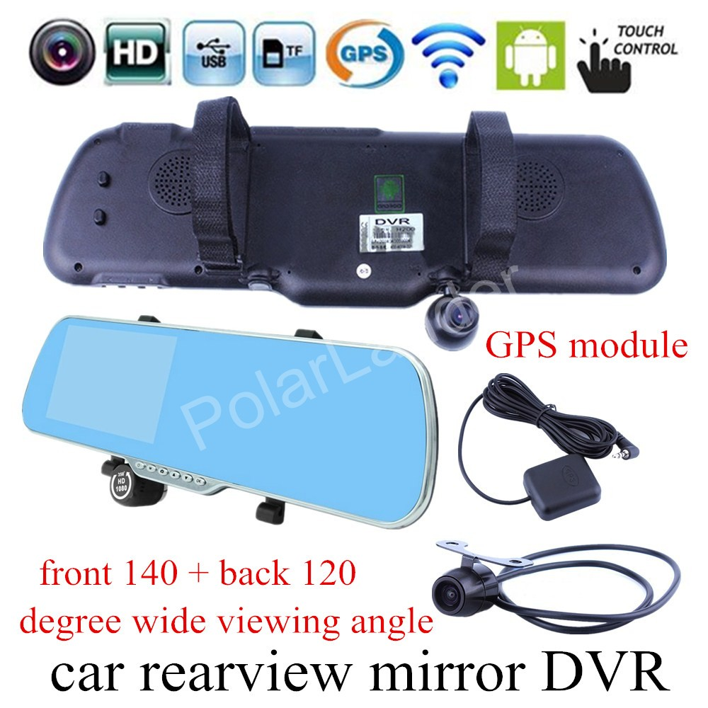 Navigation Mirror Camera Car Dvr Touch-Screen WIFI Dual-Lens Android For GPS 5inch
