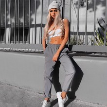 2018 Autumn Women Reflector Harem Pants New Fashion Solid Casual Pants Mid Female Loose Fitness Sweatpants Trousers 2019 new women yoga pants harem loose wide leg sweatpants bloomers running jogging casual fitness pants activewear crotch pants