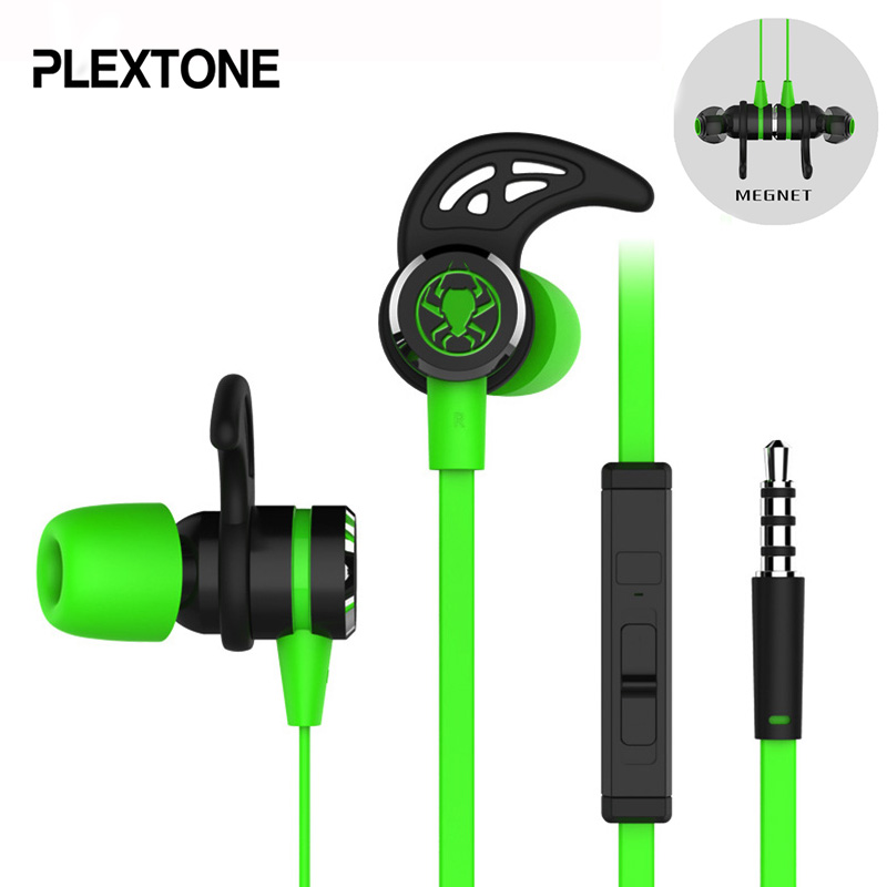 PLEXTONE G20 In-ear Earphone With Microphone Wired Magnetic Gaming Headset Stereo Bass Earbuds Computer Earphone For Phone Sport cheaper in ear headset earphone for mp3 player computer mobile telephone wired earphone wholesale