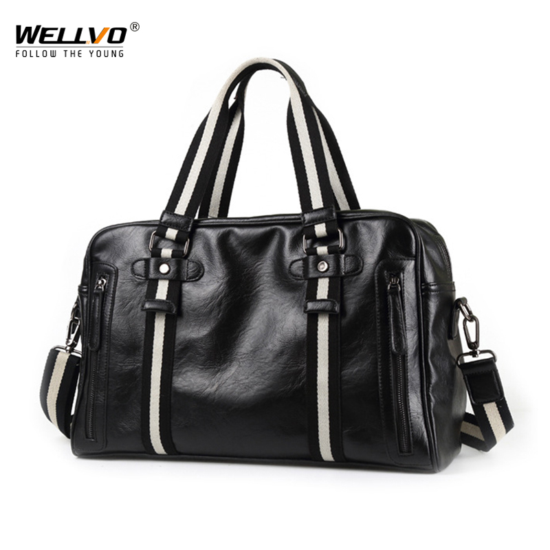 Wellvo PU leather Travel Bags Organizer Women Mens Black Business Travel Bag for Male Handbags Female Crossbody Shoulder XA39C