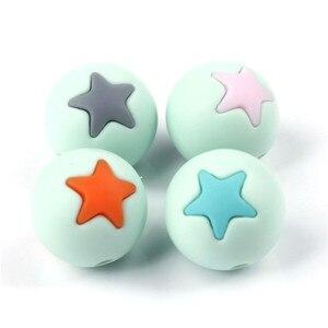 Image 2 - 50 шт Круглые Звездные силиконовые бусины 15 мм режущие шарики для зубов очищающий силиконовый Прорезыватель для зубов ожерелье украшение из бисера