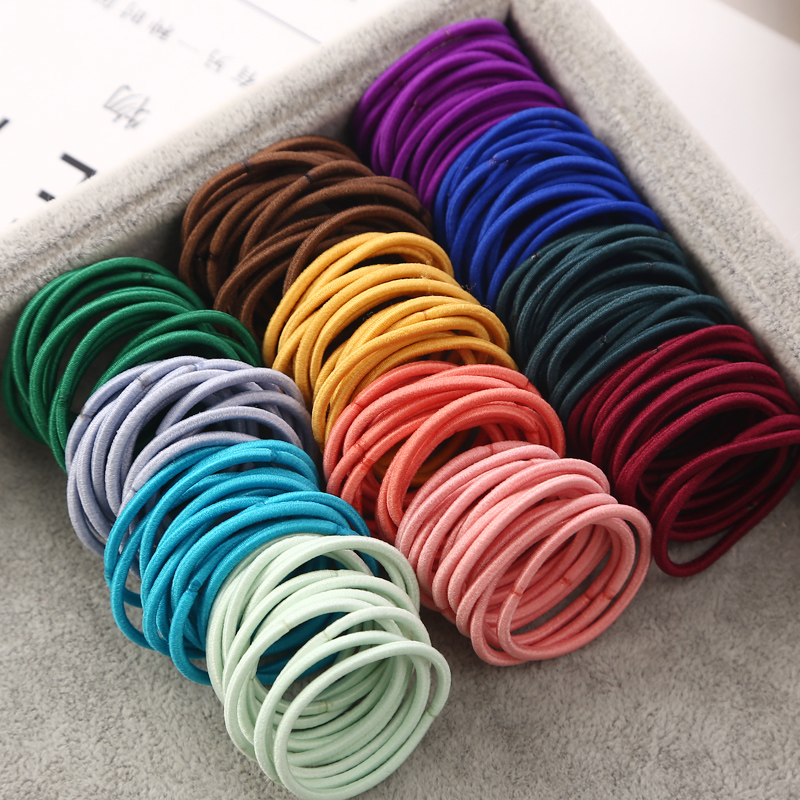 100PCS/Lot 3 CM Girls Elastic Hair Bands Rubber Band Scrunchies Headband Ponytail Holder Gum For Hair Kids Hair Accessories