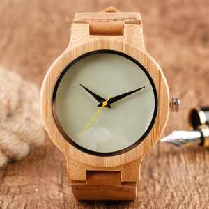 Image 3 - Minimalist Bamboo Watch Creative Marble Pattern Face Women Natural Cloud Wood Clock Men Quartz Wristwatch Genuine Leather Bangle