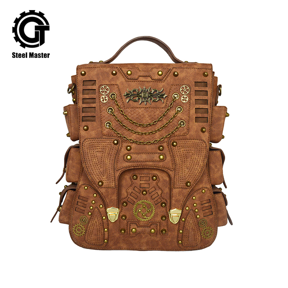 Fashion Retro Women Rivet Punk Backpack Gothic Personality PU Leather Travel Bag Steampunk