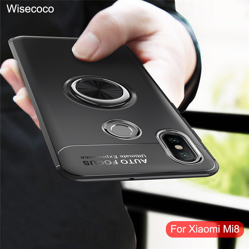 For <font><b>Xiaomi</b></font> <font><b>Mi8</b></font> Case Magnetic Ring Holder Stand Phone Cases For Xiami Mi 8 Shockproof Silicone Back Cover Xiomi Xiao Mi M8 Case image