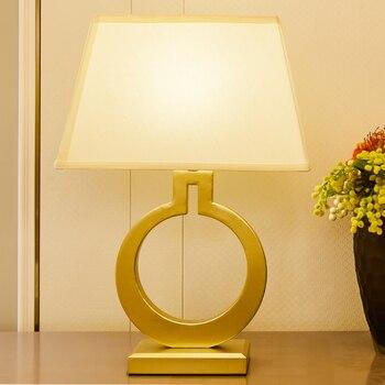 TUDA O Shape Golden Iron Metal Table Lamp For Bedroom For Living Room Trapezoidal Lampshade Post Modern LED Table Lamp 110v 220v