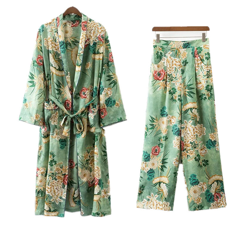 2 Piece Set Women  Suit Female Fashion Holiday Style Casual Flower Pattern Print Kimono Loose Pajama Jacket + Trousers Suit