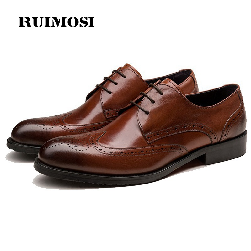 RUIMOSI High Quality Man Wing Tip Brogue Shoes Genuine Leather Cow Oxfords Round Toe Derby Men's Handmade Footwear Flats EI43