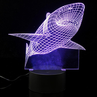 Touch Control 3D Jaws Shark LED Desk Lamp 7 Color Changing USB Table Light Decor