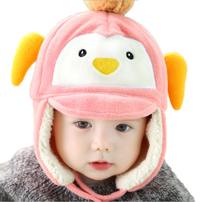 Winter ear muff Imitation velvet baby hat for Girls Boys Headband Hats cartoon penguin baby caps photography prop children hat