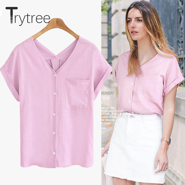 Trytree 2018 Summer Women Polyester Blouse Casual sexy shirt V-Nneck Black  White Tops clothes Casual Plus Size cotton Shirts