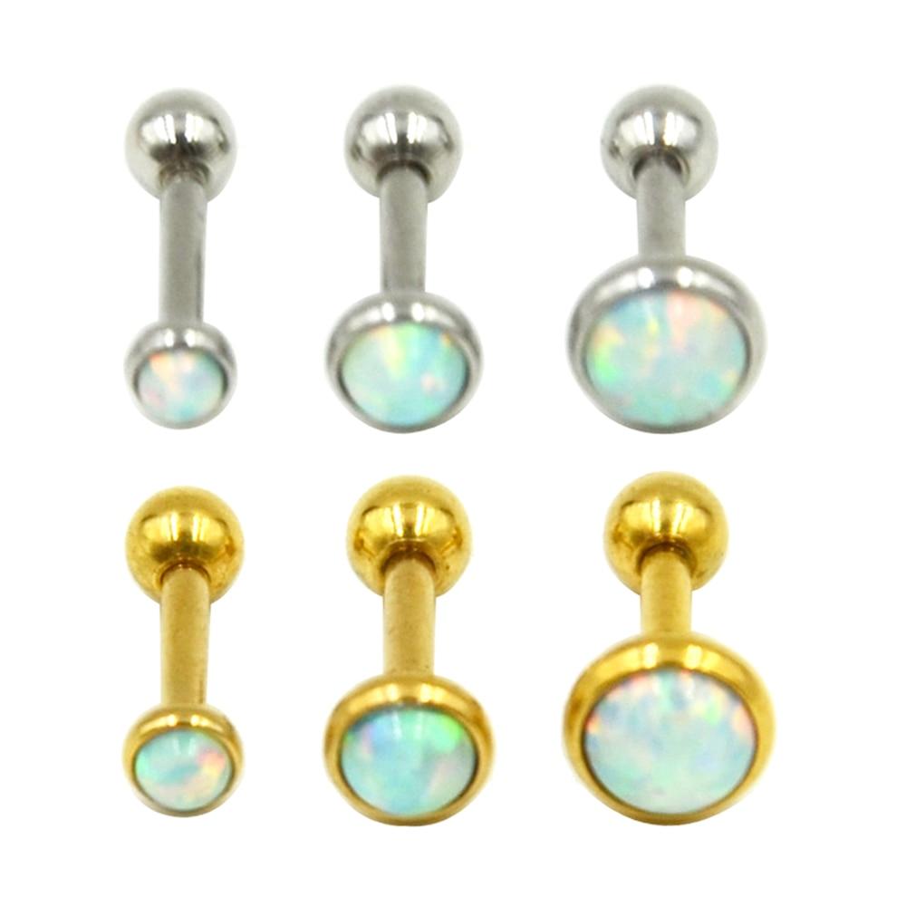 ᗛpair Of Silver Gold Opal ᗐ Stone Stone Ear Tragus
