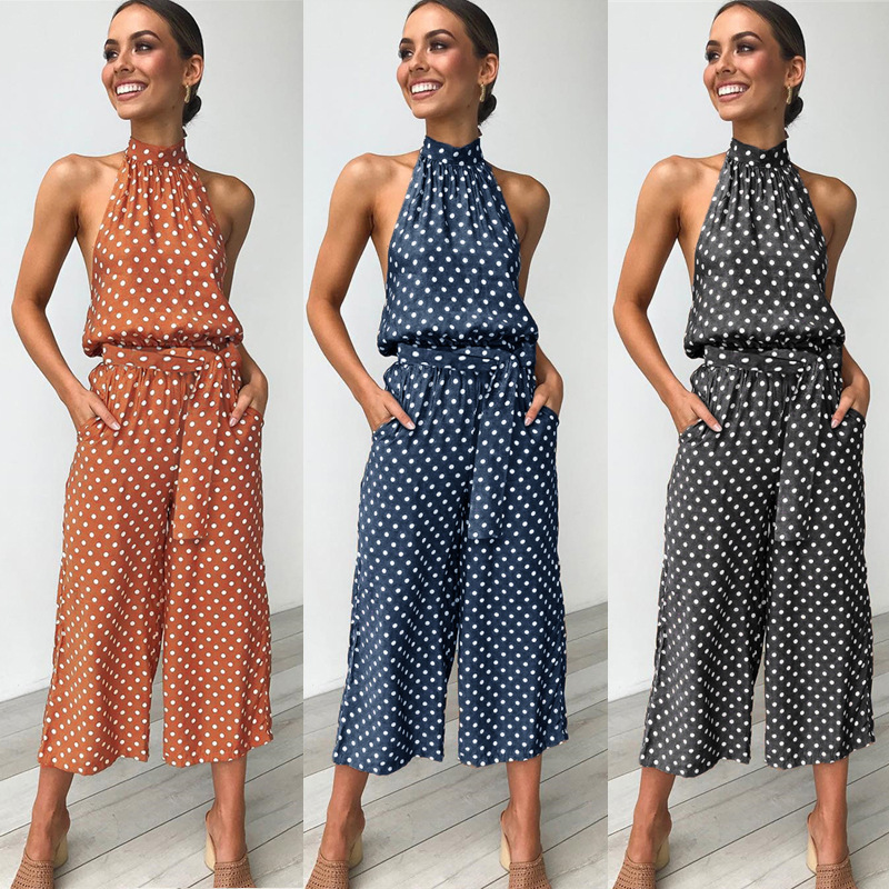Sleeveless Backless Polka Dot Bandage Halter Sexy   Jumpsuit   Women Loose Wide leg Beach Women's Overalls with Pochets Elegant Lady