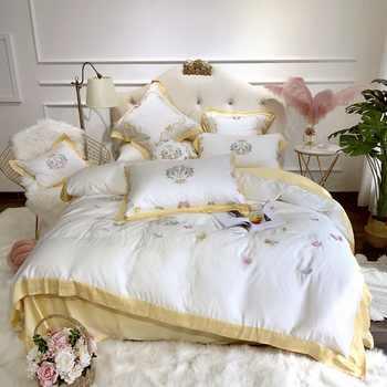 Sweet Butterflies Embroidery Ultra Soft Tencel Silk Girls Bed Set Queen King size Bed sheet Duvet cover Pillow shams 4/7pieces