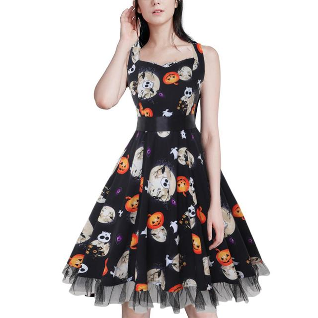 61216400f00f2 New Women's Rockabilly Style Midi Dress Female Halloween Costumes Skeleton  Cake Floral Vintage Halter Neck Slim Flare Dress 3XL