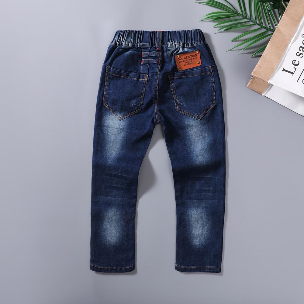 Él Hola disfrutar Pantalones de niños, 2019 vaqueros de moda vaqueros de los muchachos, para primavera y otoño los niños pantalones vaqueros de los niños azul oscuro diseñado Pantalones