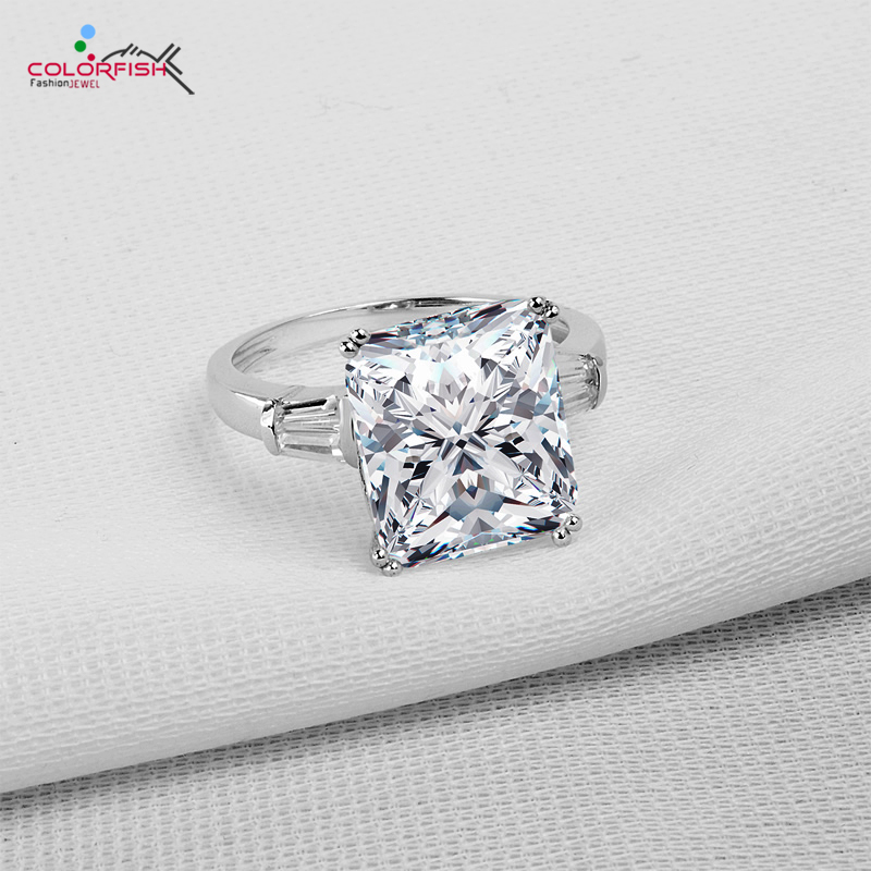 COLORFISH Women s Square 5 ct Three Stone Big Jewelry Ring 100 925 Sterling Silver Simulated