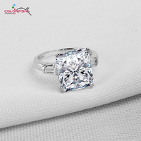 Luxury Big Stone Rings 5 Ct Emerald Cut Sona Nscd Synthetic Simulated Diamond 925 Sterling Silver
