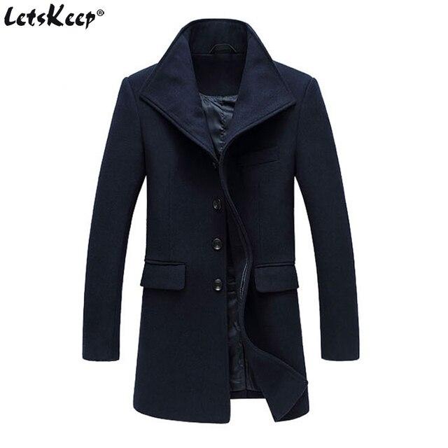 a3360642b46 Letskeep Winter Woolen Long Overcoat Men Warm Wool   Blends Peacoat Jacket  Mens Business Trench Coat Overcoats M-3XL MA430