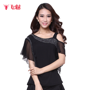 Image 1 - Womens Square Dance clothing short sleeve Oblique shoulder tops Latin Dance Performing exercises Strapless Top/tees