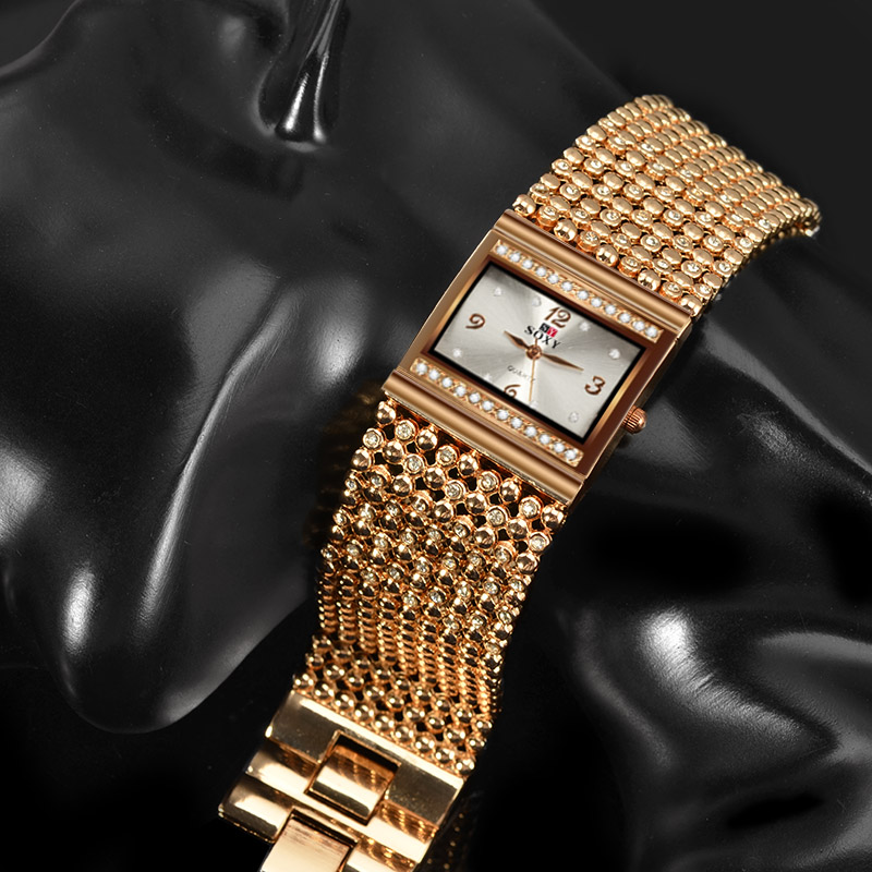 Top Luxury Rhinestone Bracelet Ladies Watch Wide Fashion Rose Gold Watch Women Watches Clock saat relogio