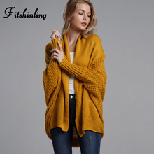 Fitshinling Oversized Sweater Cardigan Female Clothes Patchwork Batwing Sleeve Long Outerwear Women Winter Big Size Jacket Coat