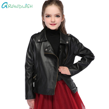 Grandwish New Kids Jackets Kids PU Leather Jacket Boys and Girls Leather Coat Children Outerwear Leather Jacket 3T-14T, SC061
