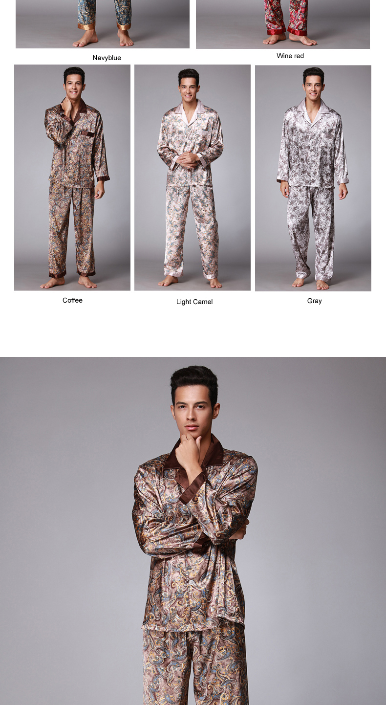 7c171d065c 2019 Autumn Winter Coffee Men Silk Pajamas Set Chinese Traditional ...