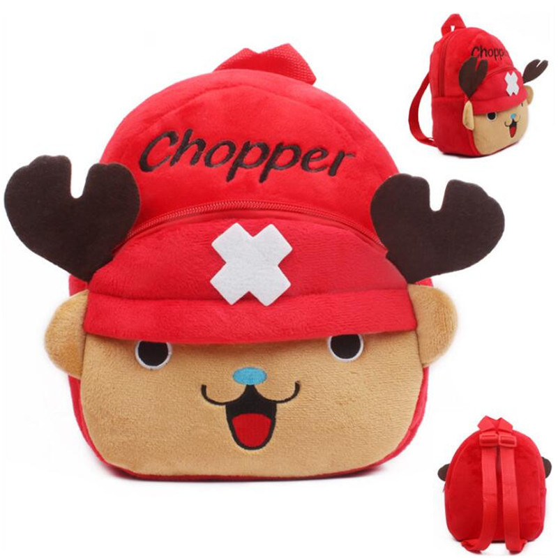 Hot !!! Super Kawaii One Piece Luffy Chopper Plush Backpacker Kids School Bags Children Gifts