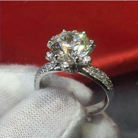 choucong Jewelry Size 5 10 Vintage Flower type 925 Sterling silver 2CT Zircon Finger Rings Wedding Eternal Band RING For Women