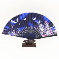 Butterfly Cherry Blossoms Hand Fan Classic Adult Women Chinese Silk Decorative Folding Fan Show Dance Hand