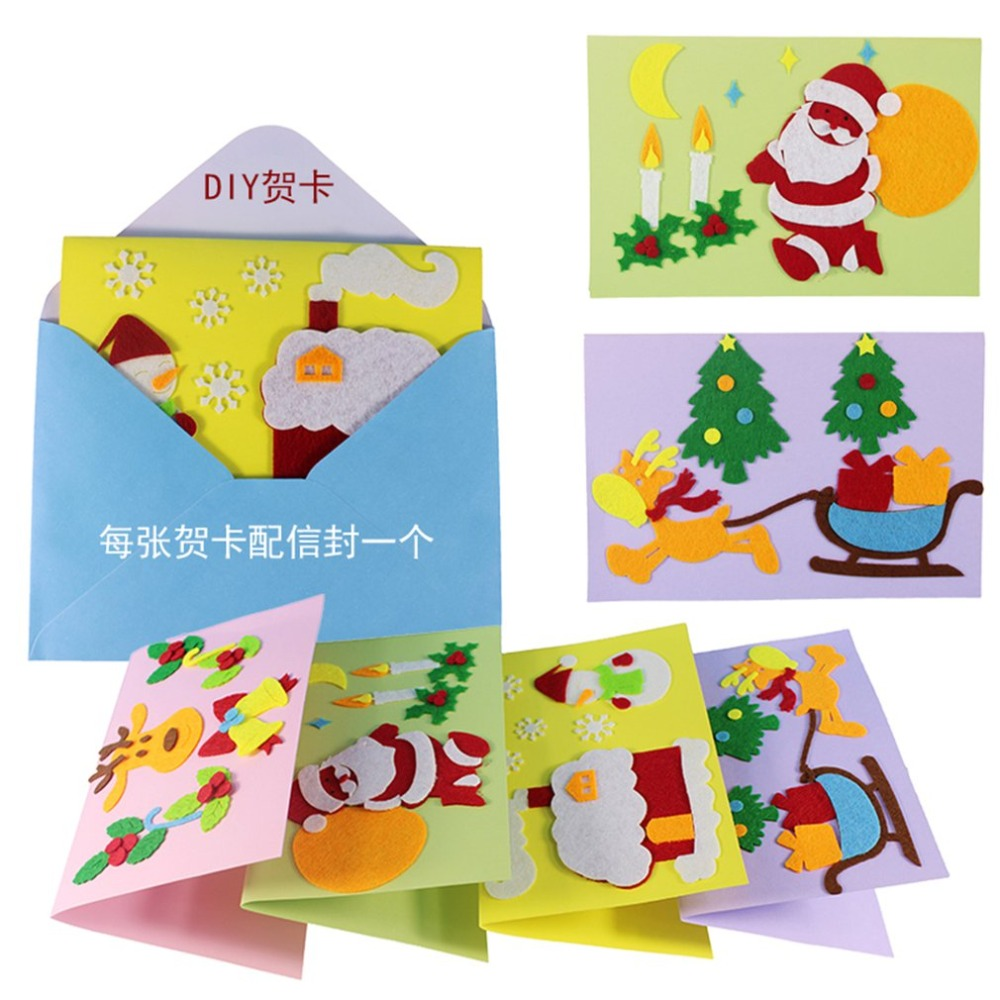 Cards:  1PCS Children Creative Nonwoven fabric Greetings Cards Christmas Gift For Teachers Students Kids DIY Handmade Crafts Art Toys - Martin's & Co