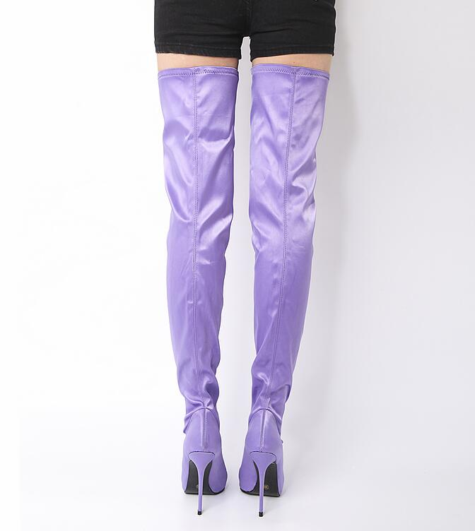 2017 New Autumn Fashion Women Lavender Purple Sexy Pointed Toe Thigh High Over The Knee Thin Heels Long Boots Slim Boots