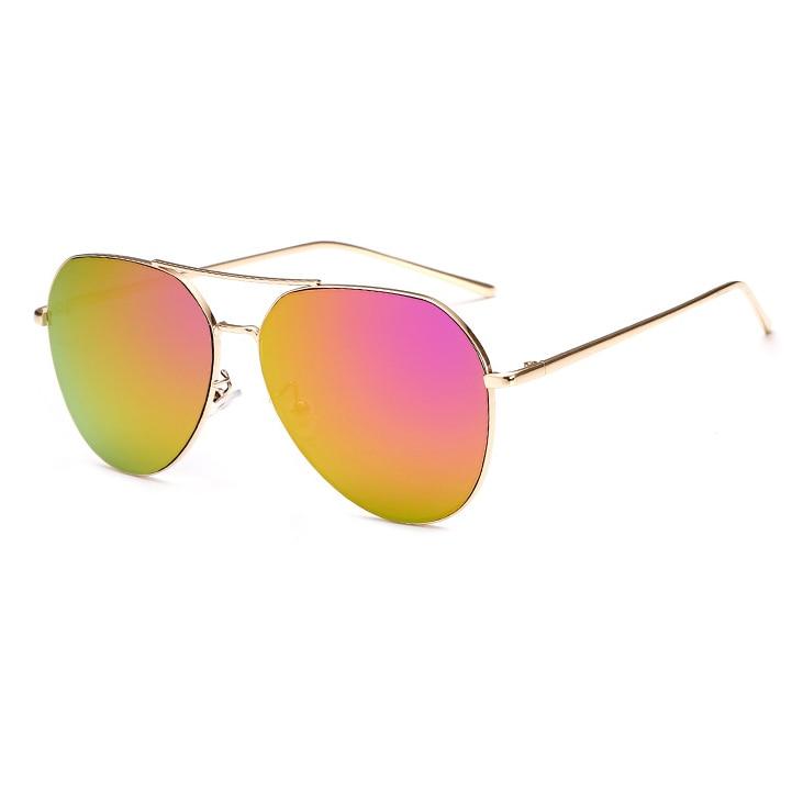 New Fashion Flat Lens Mirror aviation Sunglasses Women Stylish Sun Glasses Lady Men Metal Frame Eyewear High Quality 3