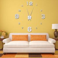 Silver Fashion 3D Big Size Wall Clock Mirror Surface Stickers DIY Living Room Decor Large Watch House Decor Creative Gift PJW