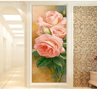 Needlework Wholesale Diy Full Diamond Painting European Pink Rose Paintings Rhinestone Wall Stickers Set for Embroidery Crafts