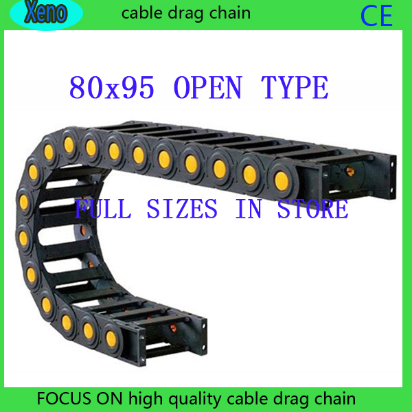 цена на Free Shipping 80x95 1 Meter Bridge Type Plastic Cable Drag Chain Wire Carrier With End Connects For CNC Machine