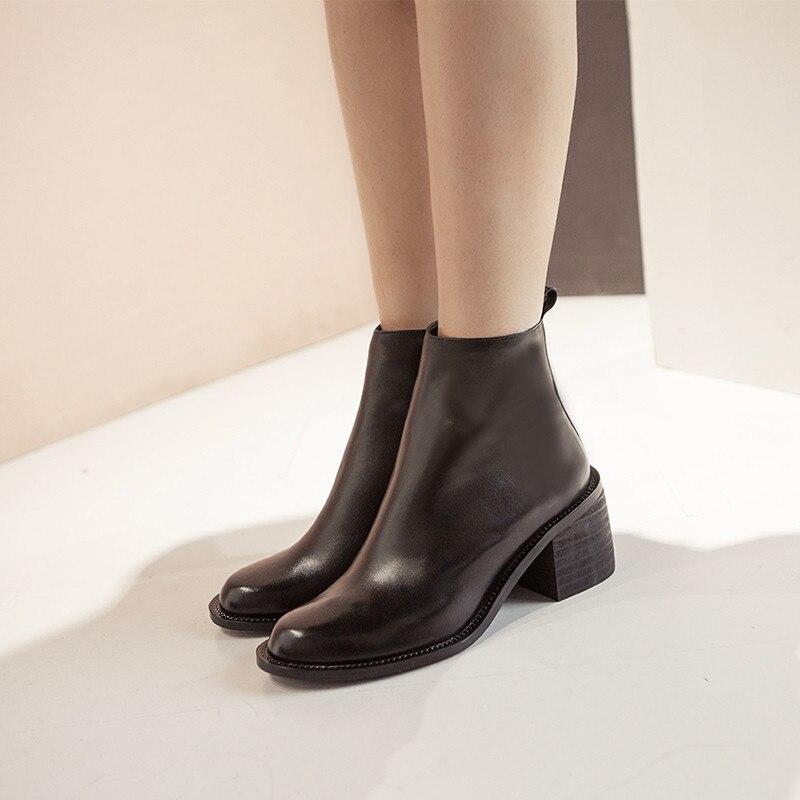 ASUMER 2020 moda nowy botki dla kobiet okrągły nosek zip buty z prawdziwej skóry kwadratowe wysokie obcasy buty czarne w Buty do kostki od Buty na  Grupa 2