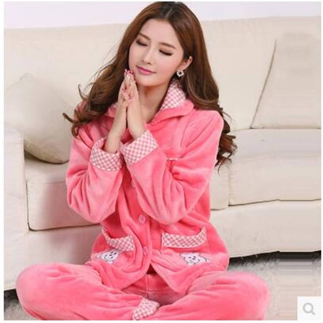 c83b122dac9 New Women Pajamas Set Woman Cute Floral Coral Fleece Nightgowns Big Size Thickening  Autumn Winter Flannel Long-Sleeve Nightwear
