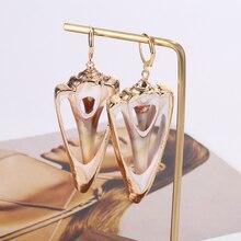 HOCOLE Sea Conch Shell Drop Earrings For Women 2019 Brincos Za Metal Bohemian Jewelry Gold Shell Dangle Earring Statement Korean цена